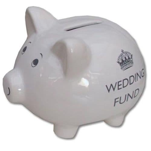 White Wedding Fund Piggy Bank, 'Wedding Fund'