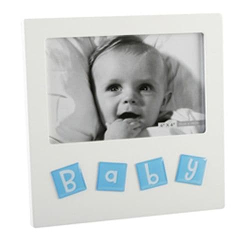 White Wooden Baby Frame with blue tiles saying 'BABY'