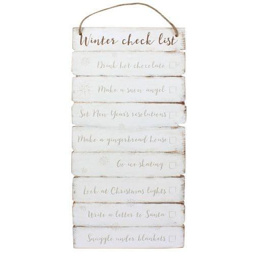 Winter Checklist Wooden Wall Sign