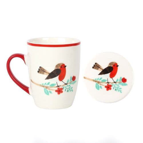 Winter Robin Design Mug And Matching Coaster
