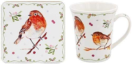 Winter Robin Mug and Coaster Set