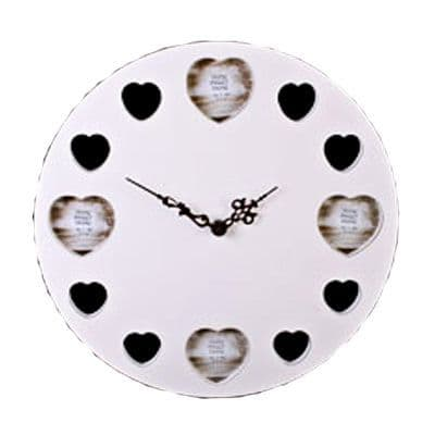 Wooden Cream Wall Clock with cut out Heart shape photo frames