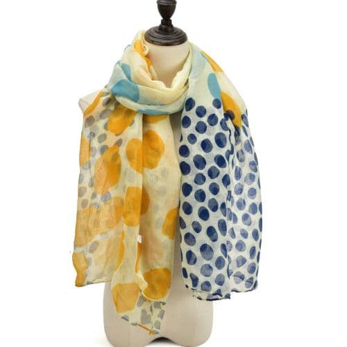 Yellow Dotted Lightweight Scarf