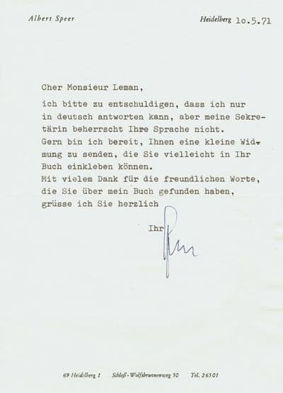 Albert Speer Autograph Signed Letter