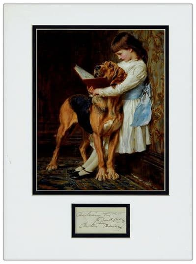 Briton Riviere Autograph Signed Display For Sale