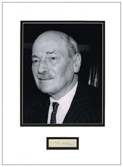 Clement Attlee Autograph Display For Sale