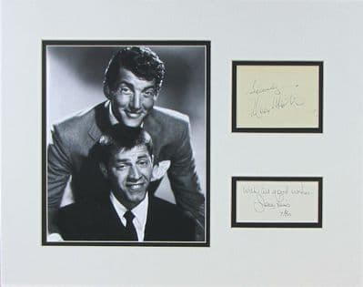 Dean Martin and Jerry Lewis Autograph Signed Display