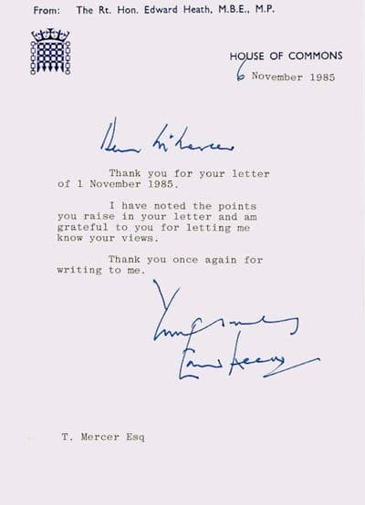 Edward Heath Typed Letter Signed For Sale