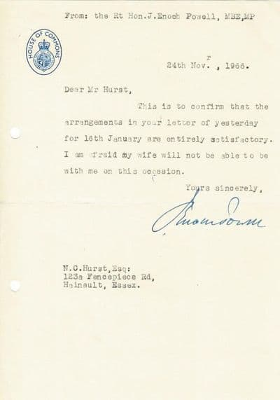 Enoch Powell Typed Letter Signed For Sale