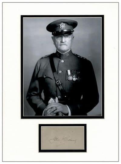 General John J Pershing Autograph Signed Display