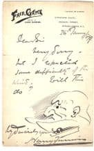 Harry Furniss Autograph Note Signed - Punch