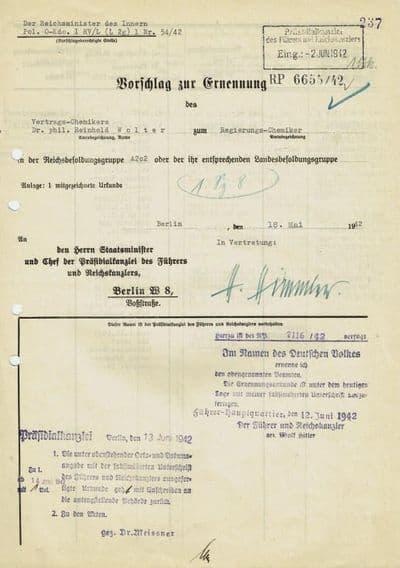 Heinrich Himmler Autograph Document Signed