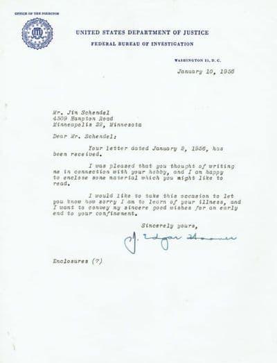 J. Edgar Hoover Typed Letter Signed - FBI