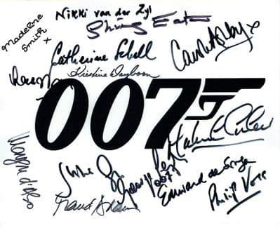James Bond Cast Autograph Signed Photo For Sale
