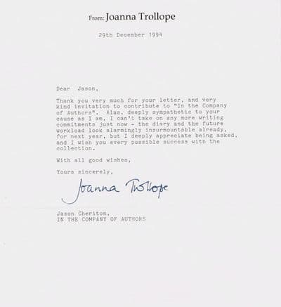 Joanna Trollope Typed Letter Signed