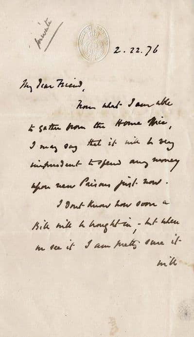 John Bright Letter Signed