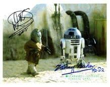 Kenny Baker & Warwick Davis Autograph Photo Star Wars