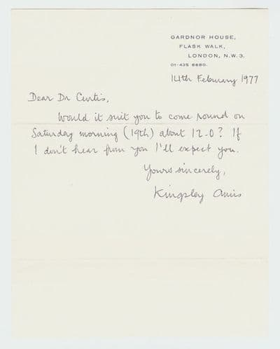 Kingsley Amis Autograph Letter Signed