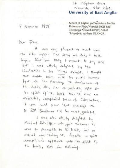 Malcolm Bradbury Autograph Letter Signed