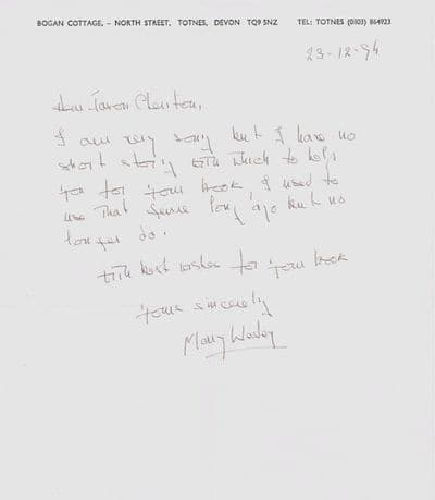 Mary Wesley Autograph Letter Signed