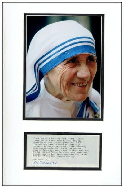 Mother Teresa Autograph Display