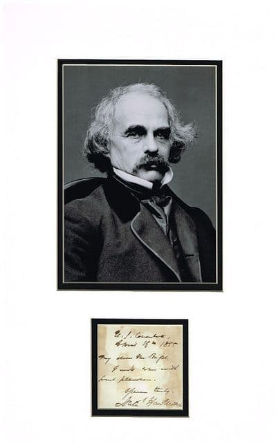 Nathaniel Hawthorne Autograph Signed Display