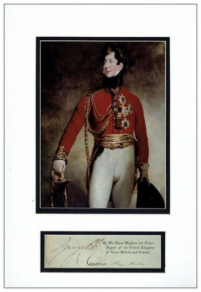 Prince Regent Autograph Signed Display