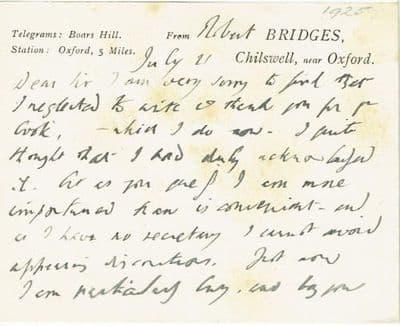 Robert Bridges Autograph Note