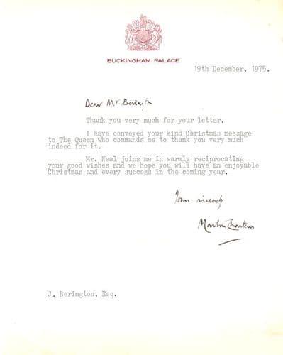 Royal Secretary Autograph Typed Letter Signed - Buckingham Palace