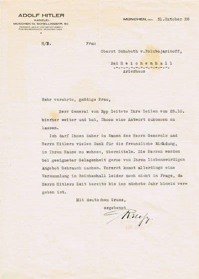 Rudolph Hess Typed Letter Signed - Adolf Hitler