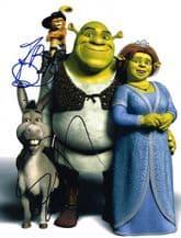 Shrek Autograph Signed Photo - Murphy & Banderas
