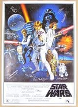 Star Wars Cast Autograph Signed Movie Poster - Signed by 11