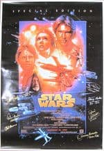 Star Wars Cast Signed Movie Poster - Signed by 7
