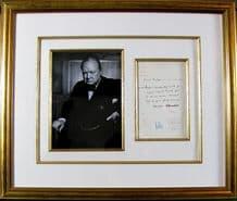 Winston Churchill Autograph Signed Telegram Display