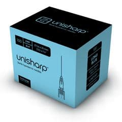 Unisharp: Long blue 23 gauge 30mm (1.25 inch) needle. Box of 100.