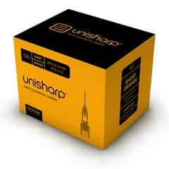 Unisharp: Short Orange 25 gauge 16mm (5/8 inch) needle. Box of 100.