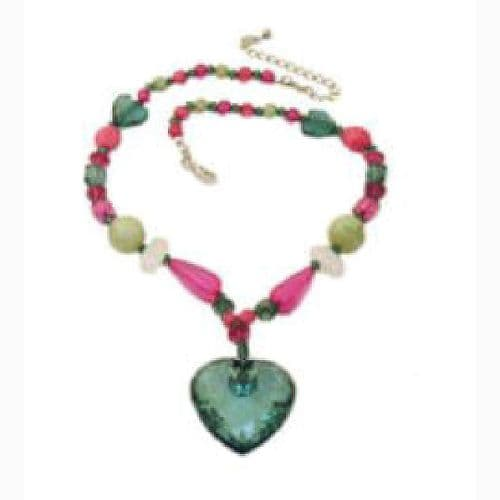 Acrylic Necklace With A Facetted Heart Drop
