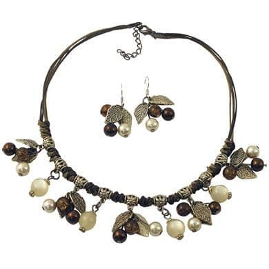 Autumn Leaf Necklace & Earring Set