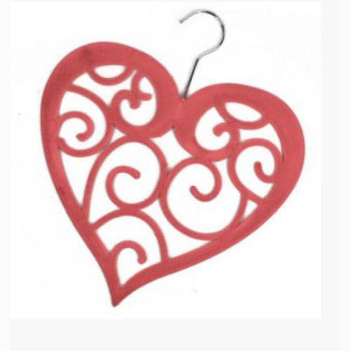 Flocked Heart Scarf Hanger Red