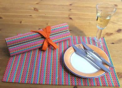 Four  Striped Bamboo Table Mats