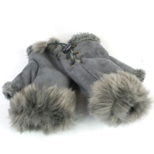 Grey Faux Suede Fingerless Mitts
