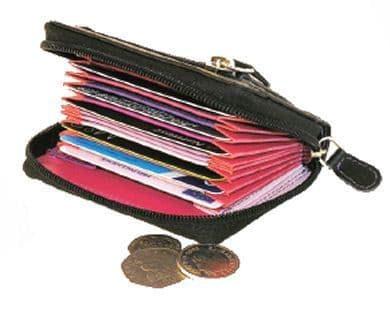 Leather Concertina Credit Card Case Securely Zipped
