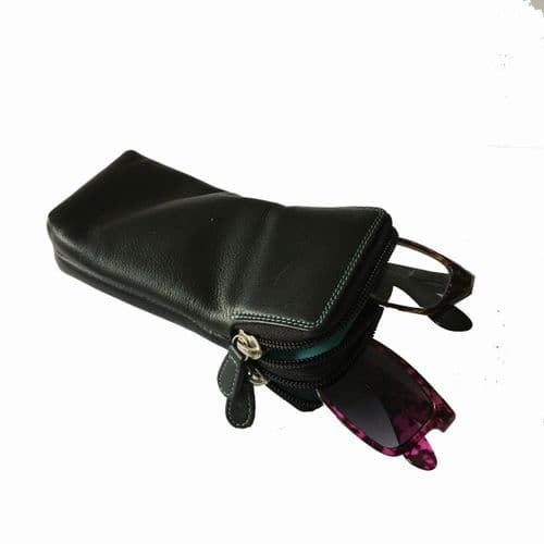 Leather Double Glasses Case Black
