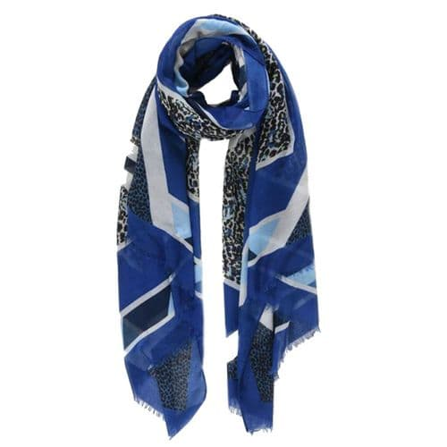 Midnight Cheetah Blue Scarf