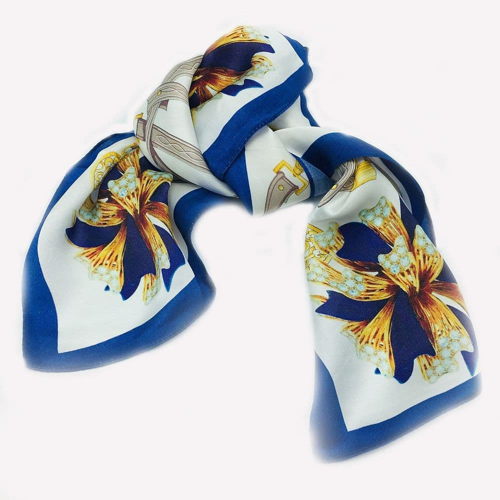 Silk Neck Scarf Bordered Ribbons