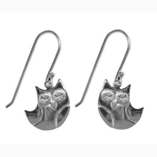 Silved Plated Owl Earrings