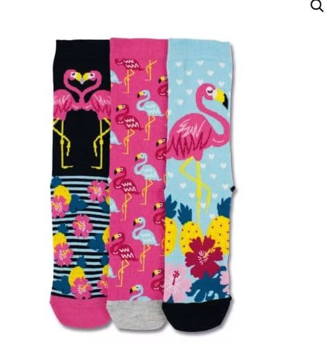 Sock Trio With Funky Flamingos for Her