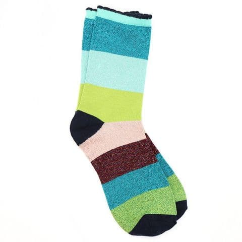 POM Peace Of Mind Bamboo and Lurex Socks in Blue and Green Mix Stripes