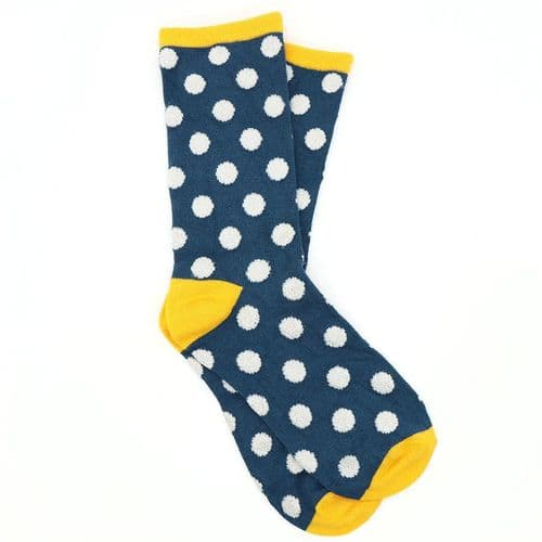 POM Peace Of Mind Bamboo and Lurex Socks in Navy and Yellow Polkadot