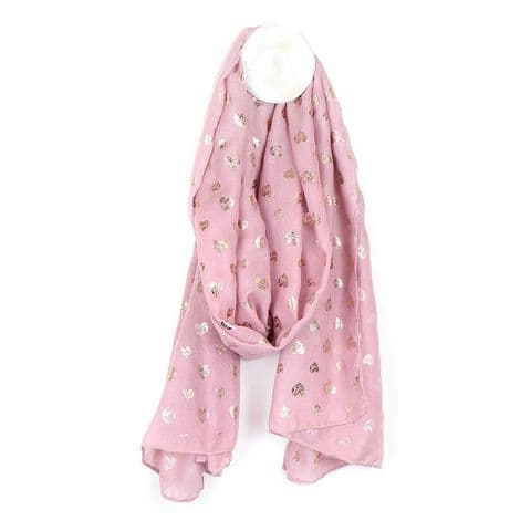 POM Peace Of Mind Pink and Rose Gold Scribble Heart Foil Printed Scarf